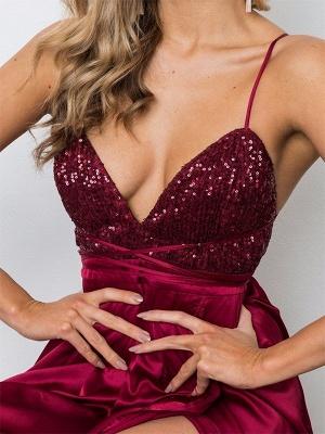 Burgundy Sequins Spaghetti Strap Prom Dress UKes UK Lace Up Sleeveless Side Slit Elegant Evening Dress UKes UK_2
