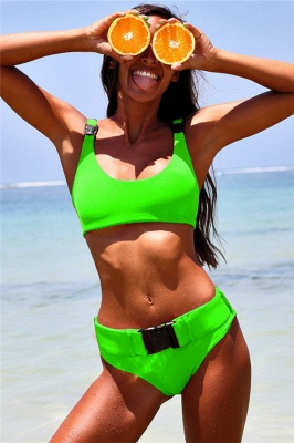Plain Scoop Colorful Two-piece Buckled Bikini Swimsuits_4