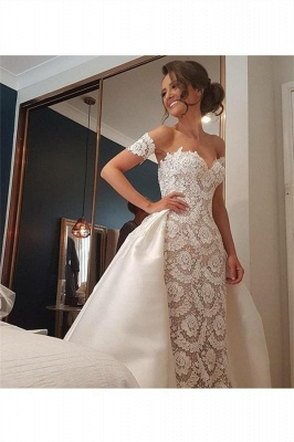 Lace Appliques Sweetheart Wedding Dresses UK Overskirt Sleeveless Floral Bridal Gowns_3