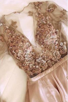 Sexy Sequin Elegant V-Neck Lace Appliques Crystal Prom Dress UKes UK Side slit Longsleeves Evening Dress UKes UK_2