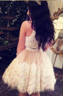 Crystal Lace Appliques Jewel Homecoming Dress UKes UK Two Piece Sleeveless Short Party Dress UKes UK_2