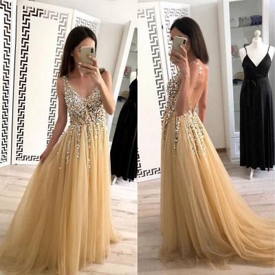 Sexy Lace Appliques Elegant V-Neck Crystal Prom Dress UKes UK Backless Sleeveless Evening Dress UKes UK_2