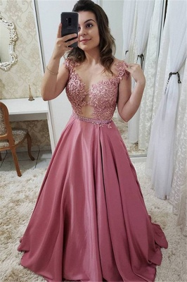 Romactic Pink Off-the-Shoulder Applique Prom Dress UKes UK Sleeveless Elegant Evening Dress UKes UK with Crystal_1