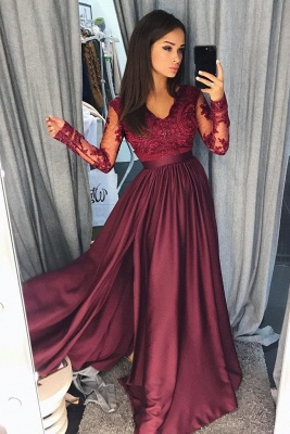 Lace Appliques Elegant V-Neck Prom Dress UKes UK Side slit Sleeveless Evening Dress UKes UK with Beads_3