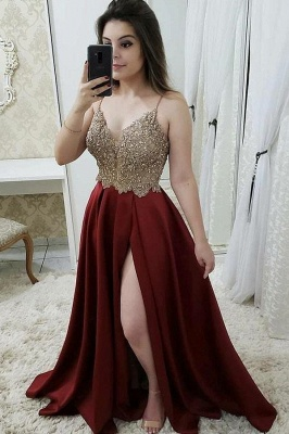 Sexy Beads Spaghetti-Strap Lace Appliques Prom Dress UKes UK Side slit Sleeveless Evening Dress UKes UK_1