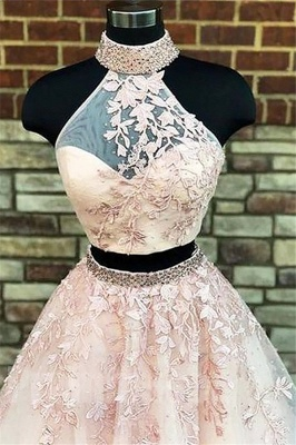 Sexy Halter Two Piece Lace Appliques Prom Dress UKes UK Lace Up Crystal Evening Dress UKes UK with Beads_4
