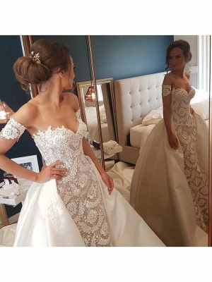 Lace Appliques Sweetheart Wedding Dresses UK Overskirt Sleeveless Floral Bridal Gowns_2