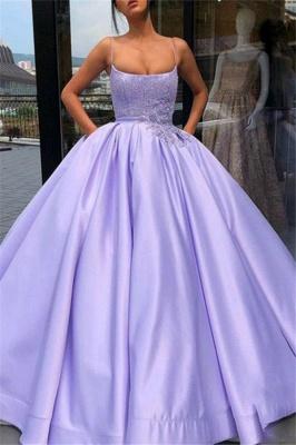 Sexy Spaghetti Strap Applique Beads Prom Dress UKes UK Ruffles Ball Gown Sleeveless Elegant Evening Dress UKes UK with Pocket_1