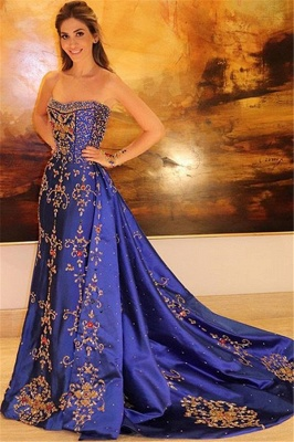 Amazing Strapless Applique without Sleeve A-Line Long Prom Dress UK UK_1
