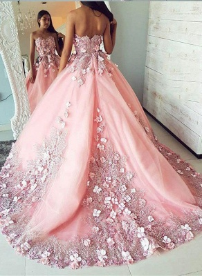 Fashion Pink Flower Sweetheart Lace Appliques Prom Dress UKes UK Ribbons Ball Gown Sleeveless Evening Dress UKes UK with Beads_2