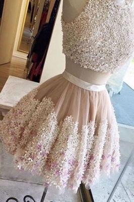 Crystal Lace Appliques Jewel Homecoming Dress UKes UK Two Piece Sleeveless Short Party Dress UKes UK_4