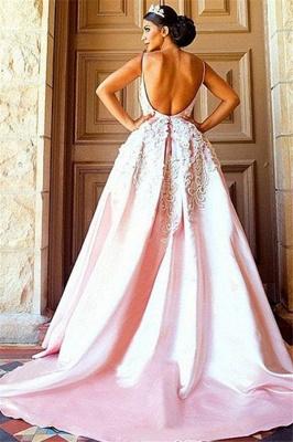 Open Back Appliques Prom Dress UKes UK Pink Spaghetti Strap Elegant Evening Dress UKes UK_2
