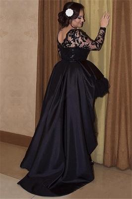 Hi-lo Lace Long Sleeves Lace Prom Dress UKes UK Plus Size Black Plus Size Elegant Evening Dress UKes UK_2