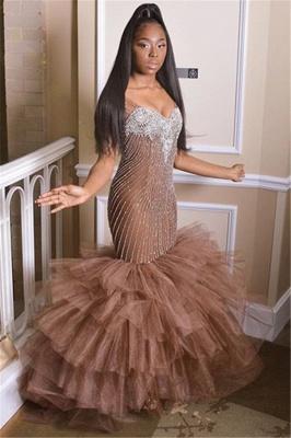 Simple Straps without Sleeve Applique Tulle Elegant Mermaid Prom Dress UK UK_1
