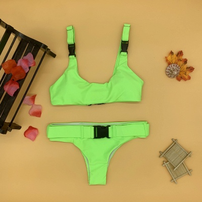 Plain Scoop Colorful Two-piece Buckled Bikini Swimsuits_11