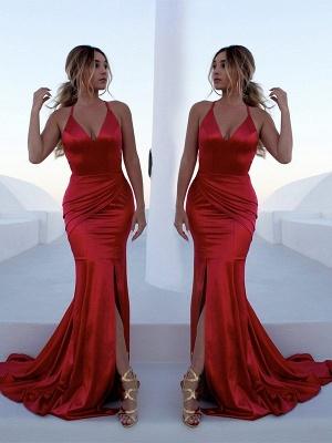 Sexy Red Halter Lace Up Prom Dress UKes UK Sleeveless Ruffles Mermaid Side Slit Elegant Evening Dress UKes UK_4