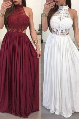 Lace Halter Sleeveless Ruffles Prom Dress UKes UK Popular Sexy Elegant Evening Dress UKes UK_2