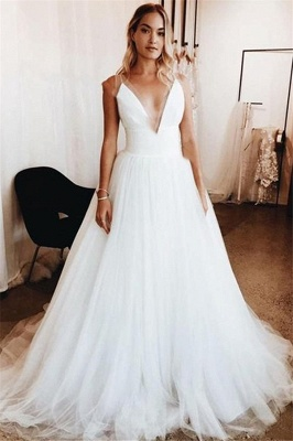 Elegant  V-Neck Applique Wedding Dresses UK Sheer Cheap Sleeveless Floral Bridal Gowns