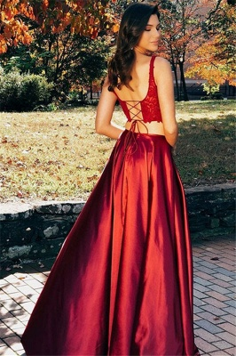 Sexy Scoop Applique Prom Dress UKes UK Two Piece Lace Up Side Slit Sleeveless Elegant Evening Dress UKes UK_3