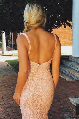 Fashion Pink Lace Straps Prom Dress UKes UK Sleeveless Backless Mermaid Evening Dress UKes UK Sexy Dress UKes UK_3