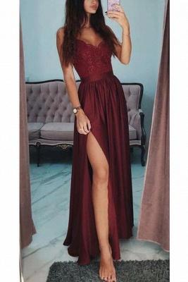 Lace Appliques Spaghetti-Strap Prom Dress UKes UK Side slit Sleeveless Evening Dress UKes UK with Beads_3