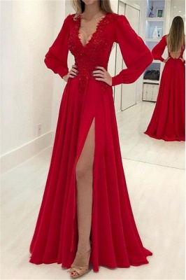 Sexy Res Elegant V-Neck Long Sleeves Prom Dress UKes UK Side Slit Applique Elegant Evening Dress UKes UK with Beads_1