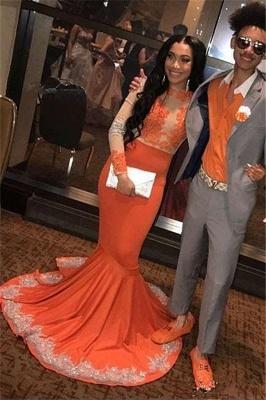 Elegant Mermaid Long Sleeves Appliqued Floor Length Prom Dress UK UKes UK_1