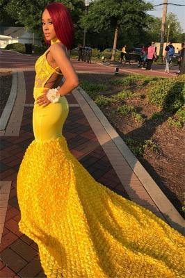 Yellow Halter Backless Sleeveless Lace Applique Elegant Trumpt Evening Dress UKes UK_3
