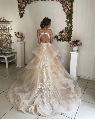 Applique TieElegant  Sheer Cheap Wedding Dresses UK Spaghetti-Strap Sleeveless Backless Floral Bridal Gowns_3