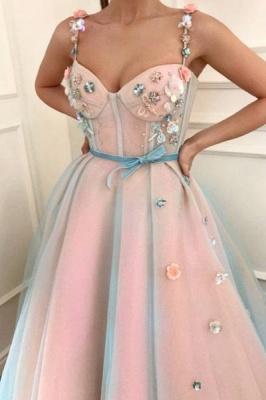 Sexy Flower Bowknot Spaghetti-Strap  Prom Dress UKes UK Ribbons Sheer Sleeveless Evening Dress UKes UK with Beads_2