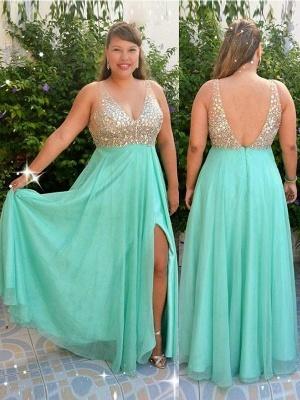Sexy Sequins Green Elegant V-Neck Prom Dress UKes UK Plus Size Open Back Side-Slit Elegant Evening Dress UKes UK_3