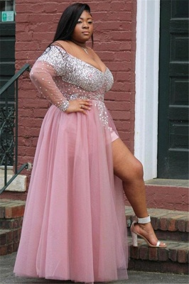 Sexy Pink Off-The-Shoulder Long-Sleevees Tulle A-Line Prom Dress UK UKes UK_2
