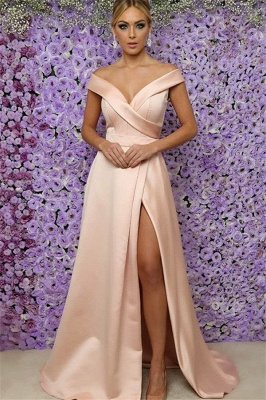 Off-the-Shoulder Prom Dress UKes UK Side Slit Sleeveless Elegant Evening Dress UKes UK Sexy_1
