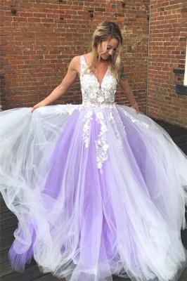 Lace Appliques Elegant V-Neck Prom Dress UKes UK Sheer Sleeveless Evening Dress UKes UK_1