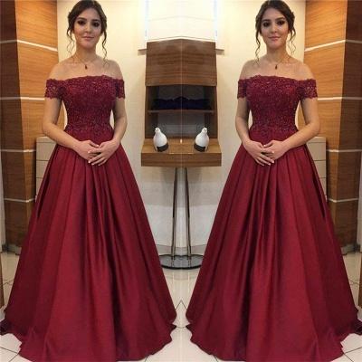 Burgundy Off-the-Shoulder Lace Appliques Prom Dress UKes UK Beads Ruffles Sleeveless Evening Dress UKes UK_2