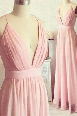 Romactic Pink Spaghetti Strap Ruffles Prom Dress UKes UK Sleeveless Elegant Evening Dress UKes UK with Sash_1
