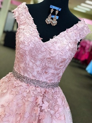 Fashion Pink Off-the-Shoulder Prom Dress UKes UK Lace Appliques Crystal Sleeveless Evening Dress UKes UK with Sash_2