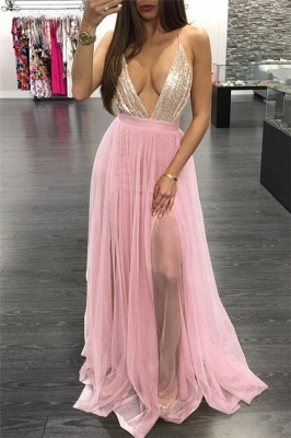Sexy Sequins Halter Lace Appliques Prom Dress UKes UK Lace-Up Side slit Sleeveless Evening Dress UKes UK_1