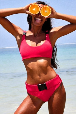 Plain Scoop Colorful Two-piece Buckled Bikini Swimsuits