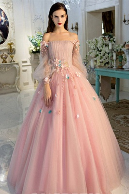 Sexy Flower Off-The-Shoulder Lace Appliques Prom Dress UKes UK Lace-Up Ball Gown Longsleeves Evening Dress UKes UK_2