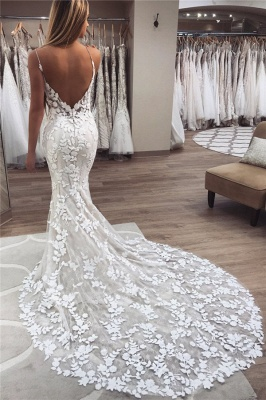 Applique Spaghetti-Strap Wedding Dresses UK Backless Sexy Mermaid Sleeveless Floral Bridal Gowns