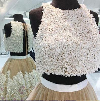 Crystal Lace Appliques Jewel Homecoming Dress UKes UK Two Piece Sleeveless Short Party Dress UKes UK_3