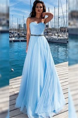Sexy Sweetheart Ruffles Crystal Prom Dress UKes UK Sleeveless Elegant Evening Dress UKes UK With Sash_1