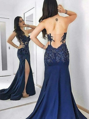 Navy Blue Sweetheart Applique Prom Dress UKes UK Mermaid Open Back Side Slit Elegant Evening Dress UKes UK_1