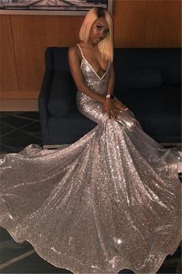 Spaghettistraps Sequins Sleeveless Prom Dress UKes UK Mermaid Open Back Evening Dress UKes UK_1