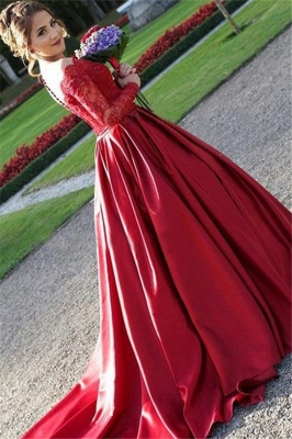 Red Lace Off-the-Shoulder Prom Dress UKes UK Long Sleeves Ball Gown Evening Dress UKes UK_2