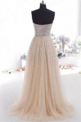 Sexy Sweetheart Sequins Pink Prom Dress UKes UK Sleeveless Open Back Crystal Evening Dress UKes UK_2