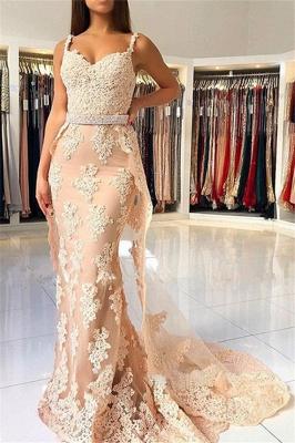 Lace Spaghetti Strap Mermaid Prom Dress UKes UK Sexy Sleeveless Elegant Evening Dress UKes UK with Over-skirt_1