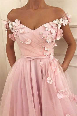 Pink Flower Off-the-Shoulder Prom Dress UKes UK Sleeveless Beads Elegant Evening Dress UKes UK with Sash_2