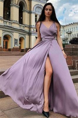 Sexy Spaghetti Strap Prom Dress UKes UK Sleeveless Side Slit Elegant Evening Dress UKes UK with Sash_1
